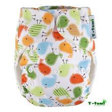 T-TOMI Bambusová nohavičková plienka  ALL IN ONE suchý zips - vtáčiky