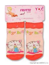YO!Baby Dojčenské froté ponožky s ABS 3 - 6 m - oranžová mačička