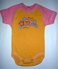 Prince Oliver Scamp dojčenské body - krátky rukáv - oranžové s ružovými rukávmi