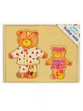 Baby Mix Drevená skladačka v boxe s vekom - Obliekame medvedíky