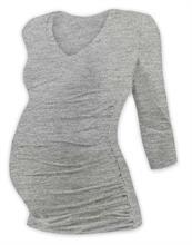 Tričko pre tehotné 3/4 rukáv s výstřihom do V - šedý melír