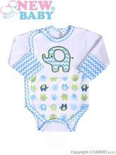 New Baby Dojčenské body s bočným zapínám Sloník modrá - vel. 56