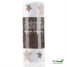 T-Tomi Bambusová osuška 100x80 - béžové hvězdičky