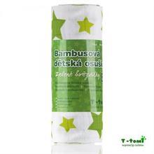 T-Tomi Bambusová osuška 100x80 - zelené hvězdičky