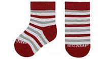 Dětské ponožky SCAMP - temně červené s šedo-bílými pruhy 23-26