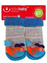 BOBAS Dojčenské ponožky s hrkálkou - veľryba - vel. 3 - 6 m