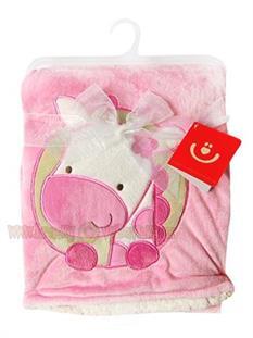 BOBAS Dojčenská deka z mikrovlákna - ružová žirafka
