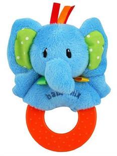Baby Mix Plyšová hrkálka s hryzátkom - sloník