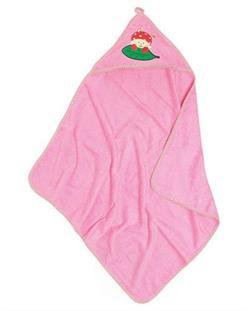 Playshoes Froté osuška s kapuckou a výšivkou - pink