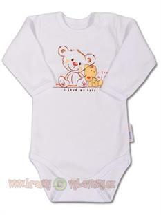 Dojčenské body dlhý rukáv Medvedíky biele - veľ 68