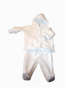 Dojčenská súprava microfleece / bavlna - biela / biela