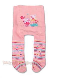 Dojčenské pančucháčky bavlnené froté - růžové Medvedí dievčatká- vel. 68