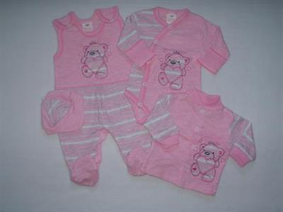 Autex Mode Dojčenská súpravička do pôrodnice 4ks Ružový melír - vel. 62