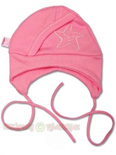 Dojčenská čiapočka ružová hviezdička - vel 56