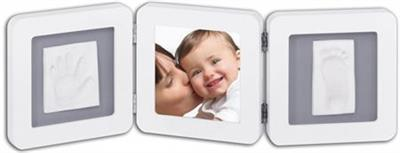 BABY ART Trojitý rámček pre detské odtlačky Double Print Frame biela & sivá