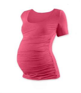 Těhotenské tričko krátký rukáv - růžový losos