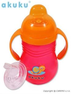 AKUKU Hrníček se silikonovým náustkem 260 ml růžový/oranžový