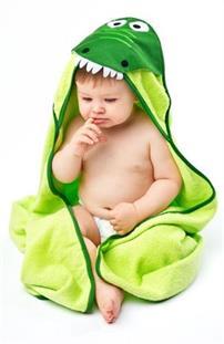 SENSILLO Dětská osuška s kapuckou bavlněná 100x100 cm - krokodýl