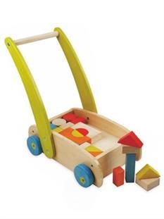 Baby Mix Dřevěný vozík s kostkami