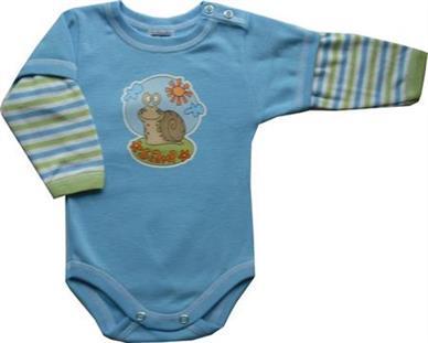 Prince Oliver Scamp Body pro miminko sv. modré-rukáv pruh ŠNEK - vel. 62