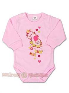 GAMA kojenecké body s dlouhým rukávem - růžový sloník - vel. 56