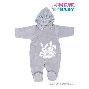 New Baby Zimní kojenecká kombinéza BUNNIES šedá - vel. 68