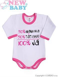 New Baby Body pro miminko s nápisem Maminka a tatínek růžové - vel. 56