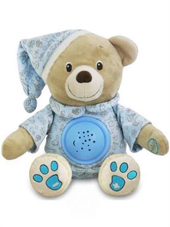 BABY MIX Plyšový medvídek s projektorem a melodií - modrý