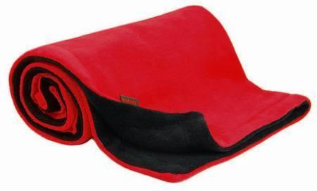 Deka fleece 70x100 cm - červená / antracit
